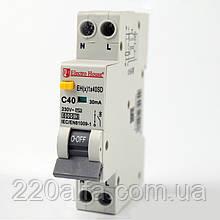 ElectroHouse Дифф. автомат 40А 1P+N (1модуль) 230/240V 6кА