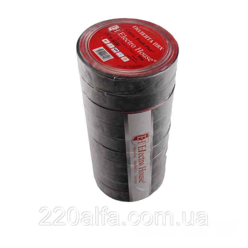ElectroHouse Чорна ізоляційна стрічка 50м