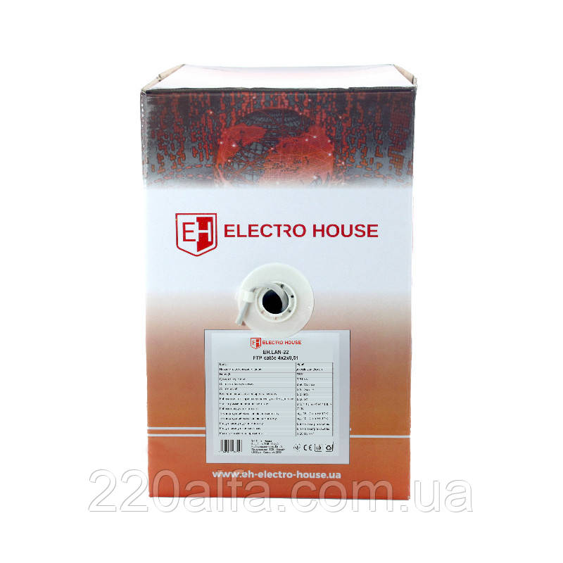 ElectroHouse Кабель вита пара FTP 4х2х0,51 CCA ПВХ сірий (внутр. Монтаж)