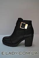 Ботиночки зимние женские черные из натуральной кожи на небольшом каблуке