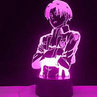 Настольный светильник-ночник Леви Аккерман Атака на Титанов настольная 3D Лампа 16 Цветов USB - Attack on