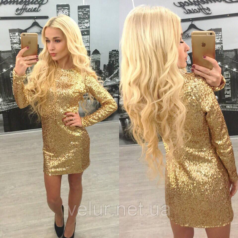 Платье золотистое в пайетках