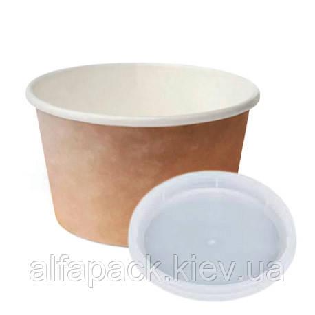 Комплект супник 470 мл Крафт/Белый с пластиковой крышкой , упаковка 50 шт, (4,80 грн/шт)