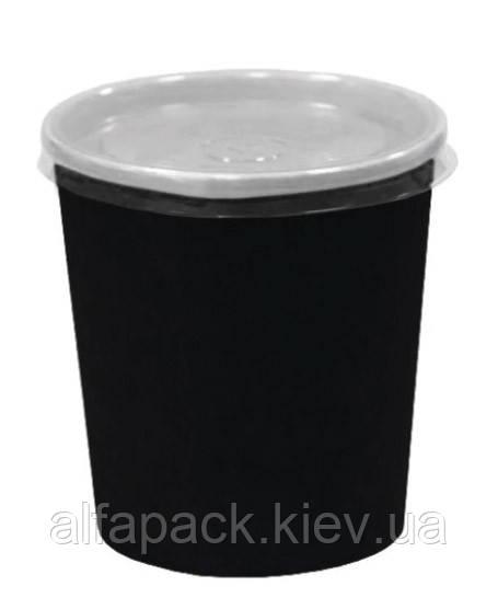 Комплект супник 300 мл Черный с пластиковой крышкой, упаковка 50 шт, (6,20 грн/шт)