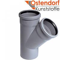 Тройник ПП 110x110х45º Ostendorf (Osma) Германия раструбный с уплотнительными кольцами серый