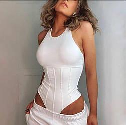 Белое женское боди с имитацией корсета