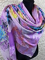 Женский легкий сиреневый шарф цветочный большого размера