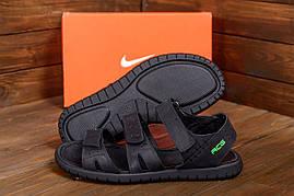 Открытые мужские сандалии черного цвета в натуральной коже Nike ACG Black (реплика)
