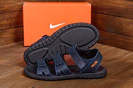 Темно синие мужские сандалии в натуральной коже Nike ACG Blue (реплика)