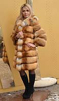 Модная женская шуба из лисы с капюшоном. Длина 90 см, фото 1