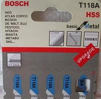 Пилки для лобзика ( уп. 5 шт.) BOSCH 118 A тонкий металлический лист 1-3 мм