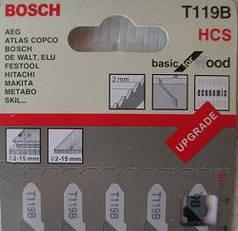 Пилки для лобзика ( уп. 5 шт.) BOSCH 119 B прямой распил фанера ДСП ДВП