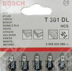 Пилки для лобзика ( уп. 5 шт.) BOSCH 301 DL дерево ДСП ДВП до 100 мм