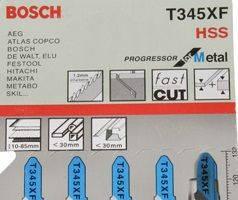Пилки для лобзика ( уп. 5 шт.) BOSCH 345 XF универсальная метал дерево