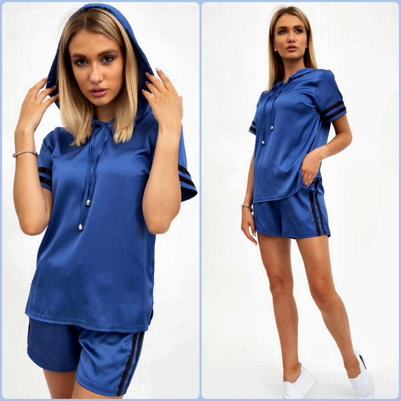 Спортивный костюм женский летний шорты и толстовка (синий, р.S,М)