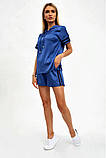 Спортивный костюм женский летний шорты и толстовка (синий, р.S,М), фото 3