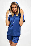 Спортивный костюм женский летний шорты и толстовка (синий, р.S,М), фото 4