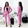 Офісний жіночий рожевий костюм брючний двійка (5 кольорів) АА/-11422