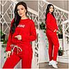 Прогулянковий костюм жіночий червоний з двуніткі ЕФ/-12668