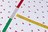 """Тканина сатин """"Маленькі вишеньки і сірі точки"""" на білому, №3435с, фото 5"""