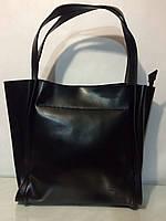 Женская кожаная сумка с длинными ручками