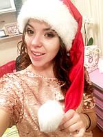 Новогодняя шапка Деда Мороза Колпак Санта Клауса Santa Claus Эльфа Гнома красная удлиненная.