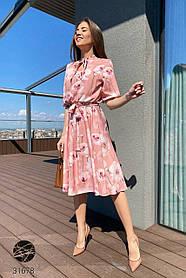 Стильное женское платье миди с цветочный принтом