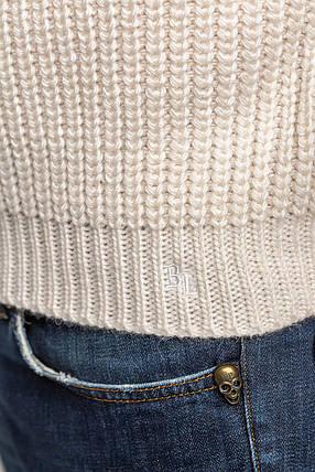 Чоловічий шерстяний светр з рукавом реглан колір Молоко розміри від L до 3XL, фото 2