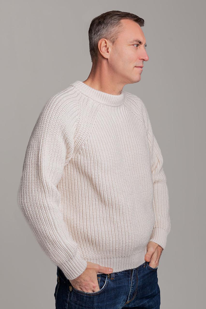Чоловічий шерстяний светр з рукавом реглан колір Молоко розміри від L до 3XL