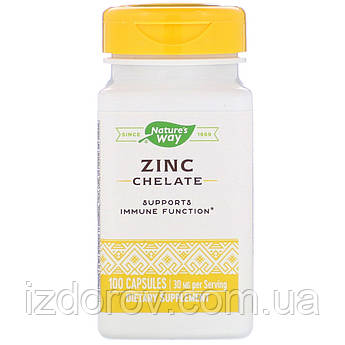 Nature's Way, Цинк хелат 30 мг, Zink Chelate, 100 капсул