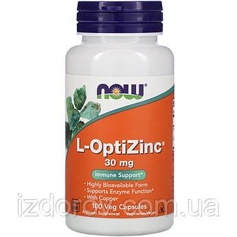 Now Foods, L-OptiZinc 30 мг, ОптиЦинк, 100 рослинних капсул