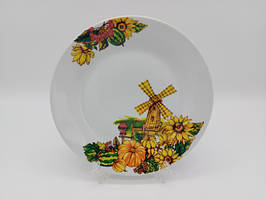Тарелка мелкая закусочная керамическая белая цветная с рисунком Мельница обеденная для вторых блюд 23 cm