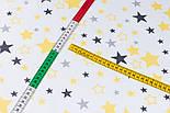 """Ткань сатин """"Звёздный карнавал"""" жёлто-графитовый на белом, №3455с, фото 2"""