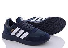 Кросівки чоловічі сині текстиль і натуральний замш в стилі Adidas iniki runner
