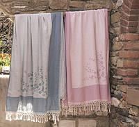 Полотенце 100х180 хлопок/бамбук BULDANS TOMURCUK бежевый, голубой, розовый.