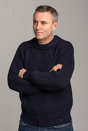 Чоловічий шерстяний светр з рукавом реглан колір Темно-синій розміри від L до 3XL, фото 2