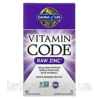 Garden of Life, Vitamin Code, Цинк RAW з екстрактами овочів, фруктів, пробіотиками і ферментами, 60 капсул