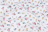"""Сатин тканина """"Одиночні мілкі квіточки"""" на білому №3445с, фото 2"""