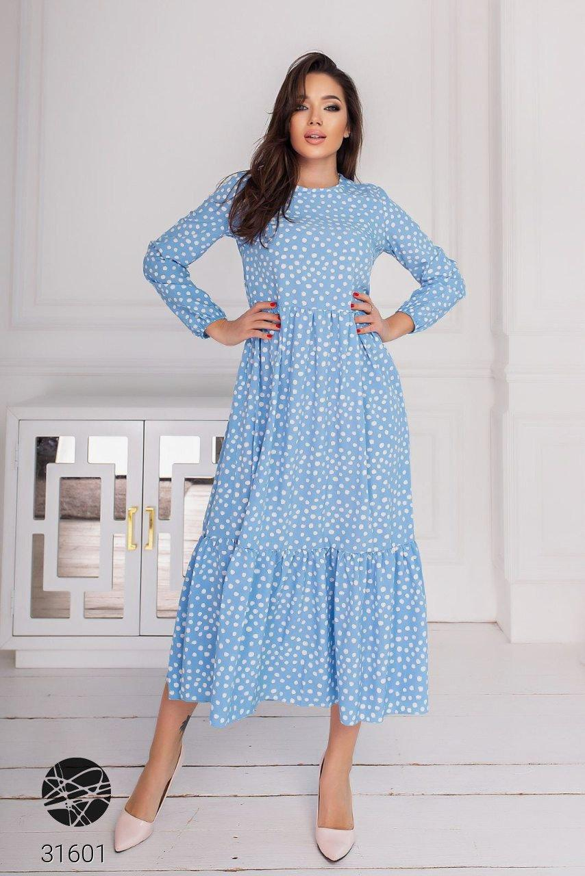Модное ярусное платье миди в ассортименте