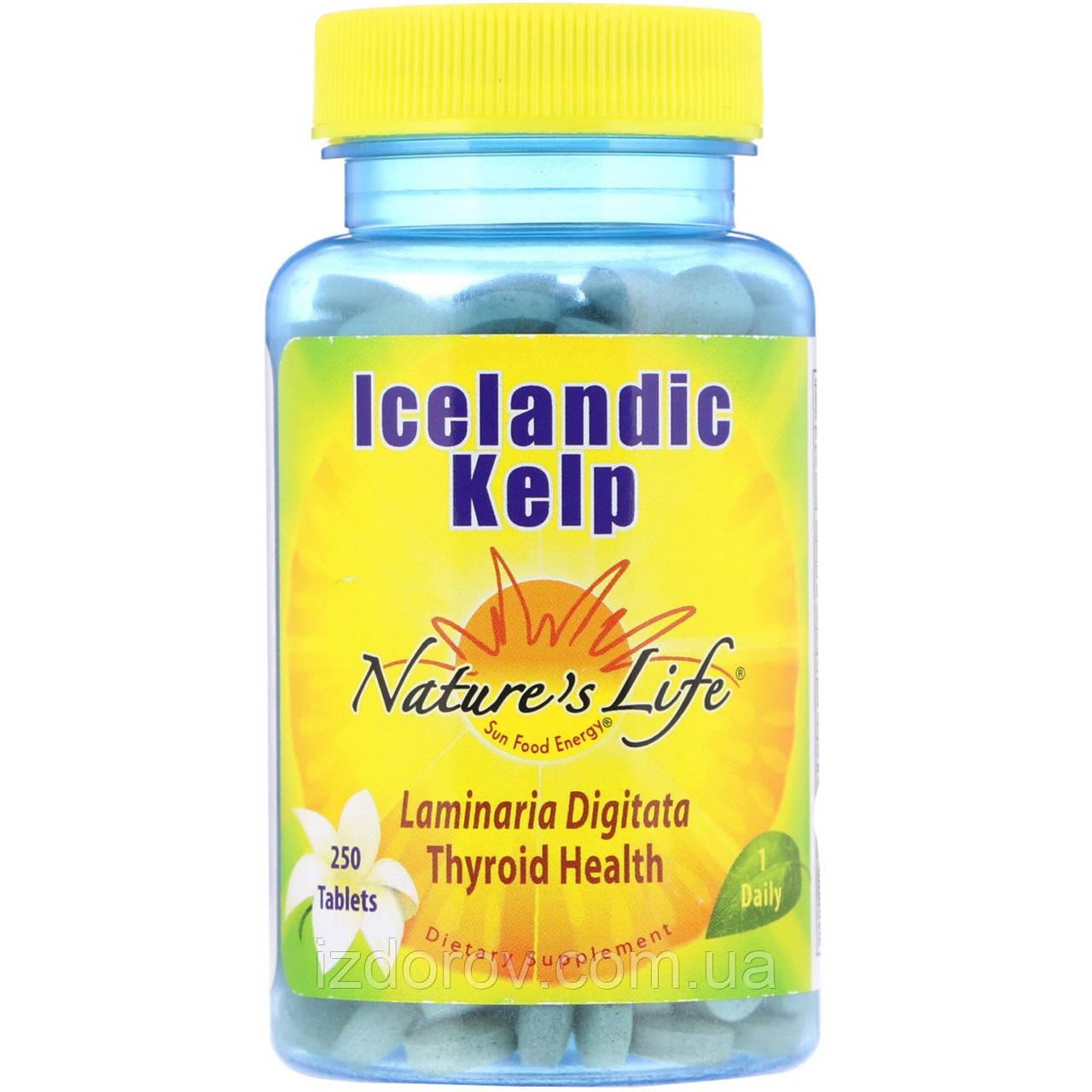 Nature's Life, Ісландська бура водорість, Icelandic Kelp, Келп, 250 таблеток