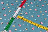 """Сатин тканина """"Одиночні мілкі квіточки"""" на пильно-бірюзовому №3444с, фото 2"""