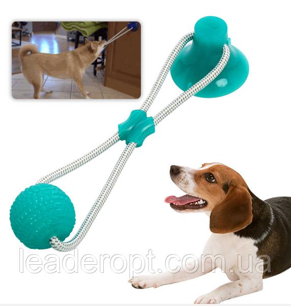 ОПТ Многофункциональная игрушка для собак канат на присоске с мячом (Зеленый)