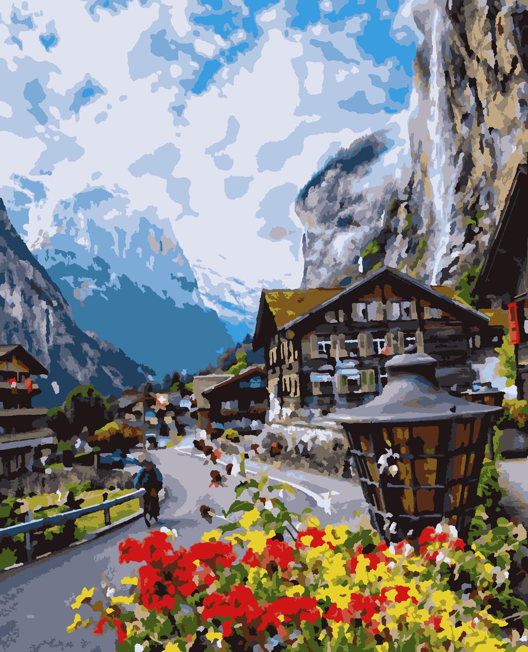 """Картины по номерам """"Цветущая Швейцария"""" 40*50см"""
