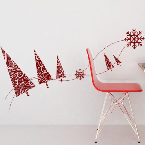 Новогодняя наклейка Узорные елочки (виниловые стикеры, елка, елки, снежинки, новый год)