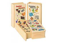 Деревянная игрушка Домино 3 вида(транспорт дикие животн домашн.животн) Woody MD 0667