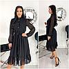 Шифоновое черное женское платье миди (3 цвета) ЕФ/-12617