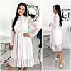 Шифоновое белое женское платье миди (3 цвета) ЕФ/-12617