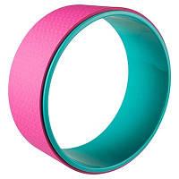 Колесо-кольцо для йоги фитнеса и пилатеса World Sport Бирюзово-розовый (8515)