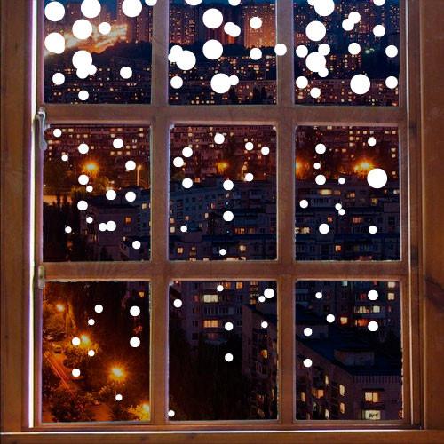 Набор виниловых новогодних наклеек Снег (снежинки, декор окон, наклейки на стекло, новогодние стикер