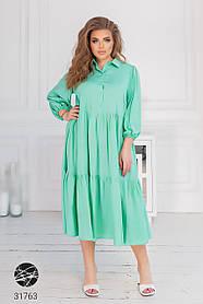 Ярусное платье-рубашка батальных размеров